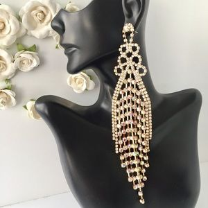 🆕 GOLD AB STONE LONG PAGEANT PROM FORMAL EARRINGS